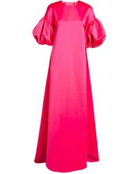 Huishan Zhang Celeste Puff-sleeved Gown - Pink