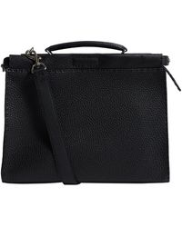 Fendi Leather Peekaboo Bag - Black