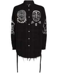 Haculla Distressed Souls Embroidered Overshirt - Black