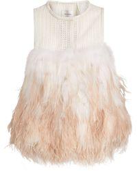 Yves Salomon Ostrich Fringe Top - Pink