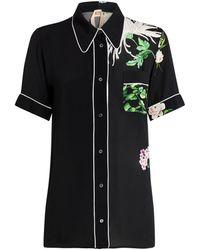 N°21 Floral Print Pyjama Shirt - Black