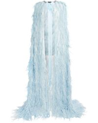 Jenny Packham Feather Maxi Cape - Blue