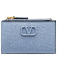 Valentino Garavani Leather Vsling Card Holder - Blue