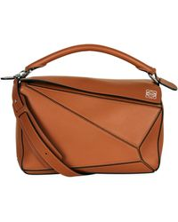 Loewe Medium Puzzle Leather Top Handle Bag - Brown