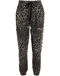 Haculla Leopard Print Fallen Angel Sweatpants - Grey