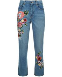 Alice + Olivia - Floral Embroidered High-rise Girlfriend Jeans - Lyst