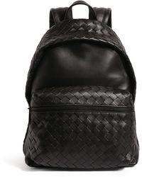 Bottega Veneta Leather Intrecciato Backpack - Black
