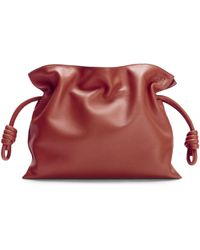 Loewe Leather Flamenco Clutch Bag - Red