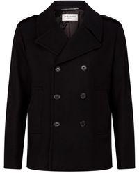 Saint Laurent Wool Double-breasted Coat - Black