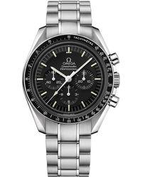 Omega Stainless Steel Speedmaster Moonwatch Chronograph Watch 42mm - Black