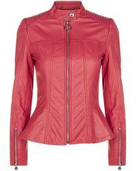 Pinko - Leather Biker Jacket - Lyst