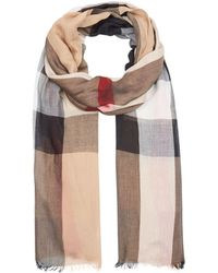 Burberry - Sheer Mega Check Scarf - Lyst