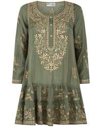 Juliet Dunn - Embroidered Silk Camisole Dress - Lyst