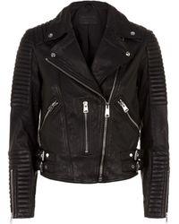 AllSaints Estella Leather Biker Jacket - Black