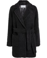 Ganni Wool-blend Wrap Coat - Black
