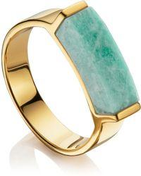 Monica Vinader - Linear Amazonite Stone Ring - Lyst