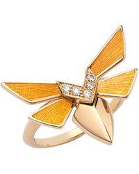Stephen Webster Yellow Gold And Diamond Jitterbug Stacking Ring - Metallic