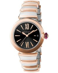 BVLGARI Stainless Steel And Rose Gold Lvcea Watch 33mm - Metallic