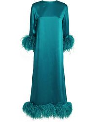 16Arlington Feather-trim Satin Borage Gown - Blue