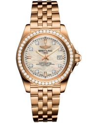 Breitling - Rose Gold Galactic Sleek Diamond Bezel Quartz Watch 32mm - Lyst