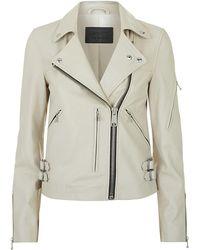 AllSaints - Prescott Leather Biker Jacket - Lyst