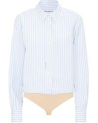 Alexander Wang Stripe Bodysuit Shirt - Black
