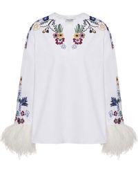 Valentino Embroidered Cotton Top - White