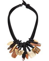 Eskandar Multi Strand Mixed Bead Necklace - Black