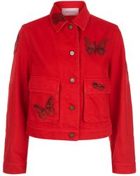Valentino - Butterfly Embellished Denim Jacket - Lyst
