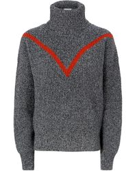 Sandro Chevron - Stripe Wool - Blend Turtleneck Sweater - Gray