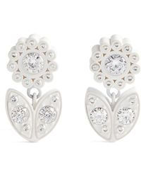 Bottega Veneta Flower Petal Earrings - White
