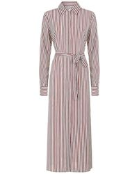 Robert Rodriguez Long Striped Shirt Dress - Red
