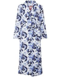 YOLKE Long Cotton Dressing Gown - Blue