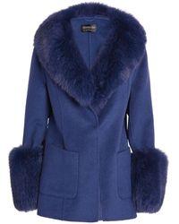 Harrods Fur-trim Penny Jacket - Blue