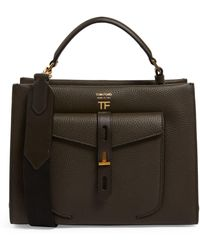 Tom Ford Small Leather Hollywood T Twist Bag - Green