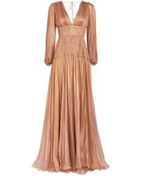 Maria Lucia Hohan Dania Pleated Gown - Natural
