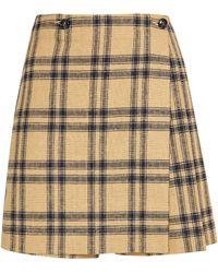 MAX&Co. Linen-cotton Check Skort - Yellow