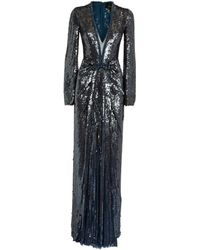 Jenny Packham Sequin Ruched Everly Gown - Blue