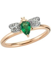 Bee Goddess - Rose Gold Diamond And Emerald Queen Bee Ring - Lyst