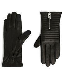 AllSaints Leather Estela Quilted Gloves - Black