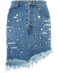 Forte Couture - Denim Mini Skirt - Lyst
