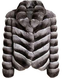 Harrods Chinchilla Fur Cropped Jacket - Grey
