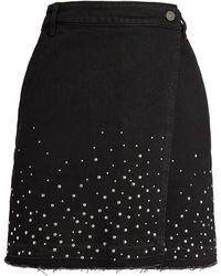 MAX&Co. Stud-embellished Denim Mini Skirt - Black