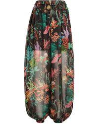 PATBO Floral Wide-leg Trousers - Black