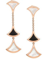 BVLGARI - Rose Gold Onyx And Mother-of-pearl Divas' Dream Drop Earrings - Lyst