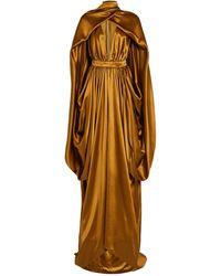 Balmain Silk Satin Caped Gown - Brown