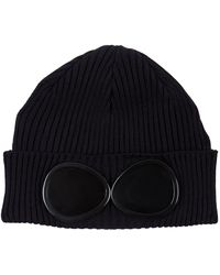 C P Company | Goggle Beanie Hat, Navy, One Size | Lyst