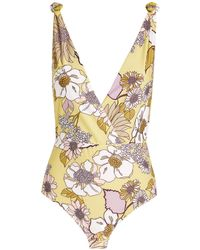 Sandro Floral Swimsuit - Yellow