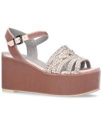 Gina - Embellished Velvet Luzon Wedge Sandals - Lyst