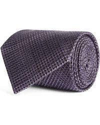 Tom Ford Silk Check Tie - Purple